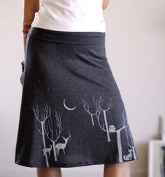 Women whimsical skirts Plus size skirt for women Plus size women's clothing Strechy jersey skirts in XL/2XL/3XL- Woodland animals (58.00 USD) by Zoeslollipop