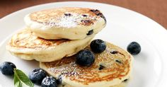 Give light and fluffy pancakes a delicious twist with vanilla and fresh blueberries.