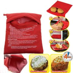 1pcs New Red Washable Cooker Bag Practical Baked Potato Microwave Cooking Potato Quick Fast Hot Selling