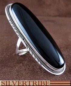 Onyx Herman Lee Navajo Indian Silver Ring GS56268