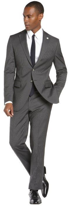 Lubiam grey and white pinstripe 2-button wool suit with flat front pants