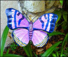 Decorative Butterfly Metal Plant Stick - Metal Garden Art, Yard Art - Hand Painted Metal Garden Decor - x Butterfly Plants, Butterfly Wall Decor, Purple Butterfly, Cross Wall Art, Steel Drum, Steel Wall, Glass Jewelry Box, Making Stained Glass, Stained Glass Suncatchers