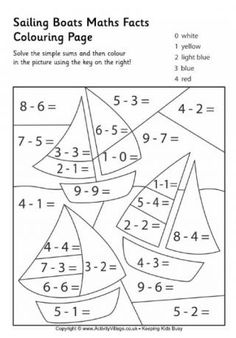 Sailing Boats Maths Facts Colouring Page
