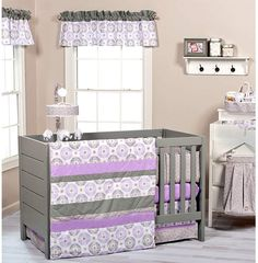 Pier 1 Imports Florence 3-Piece Crib Bedding Set. #purple #cribsets #babyshowerideas #afflnk