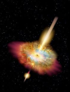 Hypernova - Los rayos gamma irrumpieron desde cualquiera de los polos de una estrella destrozada al sufrir una explosión hipernova. © Don Dixon, 2005......Hypernova - Gamma rays burst from either pole of a shattered star undergoing a hypernova explosion. © Don Dixon, 2005.