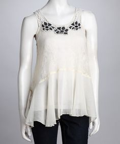 Take a look at this Ivory & Black Lace Sidetail Top by Romantic Separates: Women's Apparel on #zulily today!