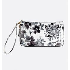 Avenue Painted Floral Wristlet ($12) ❤ liked on Polyvore featuring bags, handbags, clutches, black, plus size, wristlet purse, flower print handbags, floral clutches, zipper purse and zipper wristlet