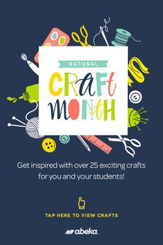 It's National Craft Month! Abeka is the one-stop shop for all Christian school and homeschool resources. Get inspired with over 25 exciting crafts for you and your students! Click here to view our collection of Christian School Crafts Christian School, Homeschool, Students, Inspired, Shop, Crafts, Collection, Manualidades, Handmade Crafts