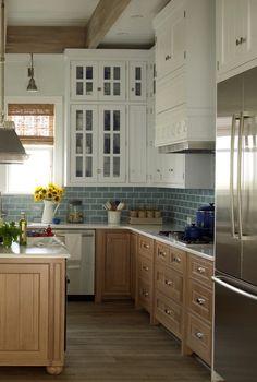 White and Wood Kitchen.  Watery Blue backsplash