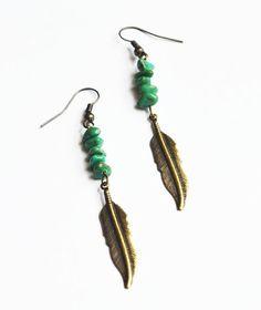 Tribal Feather Earrings Bohemian Turquoise Jewelry by LOVEnLAVISH,