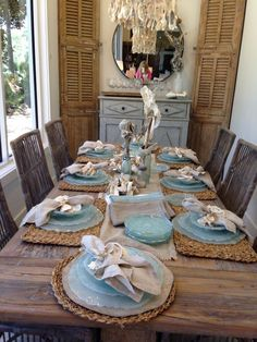 Beach decor | table setting | beatitiful decor by: Beau Interiors Grayton Beach Florida 2015