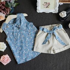 New Summer Baby Girls Clothing Sets Bow Floral Sleeveless Vest Top+ Shorts Pants Baby Kids Children Girls Clothing Set Hot Sale. Baby Girl Fashion, Fashion Kids, Dresses Kids Girl, Kids Outfits, Baby Dress Design, Baby Dress Patterns, Cute Baby Clothes, Kids Wear, Outfit Sets