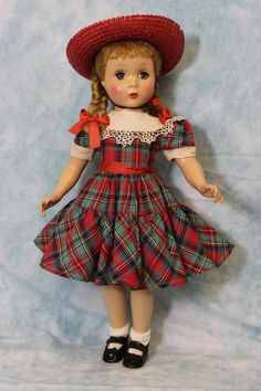 "17"" Polly Pigtails Madame Alexander All orig Maggie face Hard Plastic doll Clean"