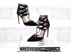Aquazzura Belgravia Suede Pumps lace-up shoes