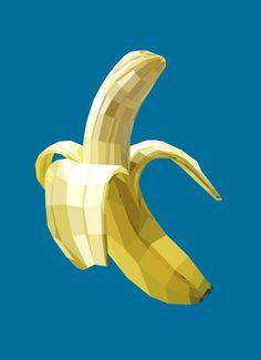 Banana Art Print by Liam Brazier Graphic Design Illustration, Graphic Art, Illustration Artists, Banana Art, Polygon Art, Arte Pop, Bananas, Design Graphique, Fruit Art