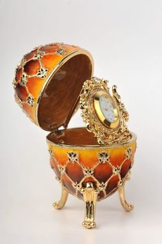 Orange and Yellow Faberge Egg with Gold Clock Inside Handmade Trinket Box by Keren Kopal Decorated with Swarovski Crystals Gold Plated