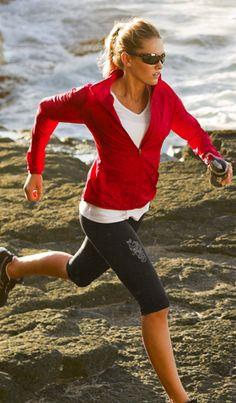 Athleta Dawn Run Jacket, Wonder Wick-It Tee, Reflective WorkitOut Kncker