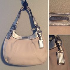 Coach Triple Entry Handbag Coach triple entry handbag Cream and silver metallic with pink interior 3 main pockets 4 interior slip pockets and 1 interior zip pocket Middle compartment is zippered, outer compartments are magnetic clasp Very light signs of wear but overall excellent condition Genuine leather, no dust bag Smoke free house. Pet free house. No trades please. Make an offer or bundle for 20% off! Coach Bags Hobos