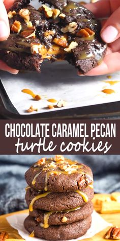 These Chocolate Caramel Pecan Turtle Cookies are the perfect indulgent dessert for caramel lovers! A tender chewy chocolate cookie stuffed with melty caramel and chopped pecans theyre irresistible! Easy No Bake Desserts, Easy Cookie Recipes, Köstliche Desserts, Baking Recipes, Delicious Desserts, Dessert Recipes, Desserts With Pecans, Yummy Food, Chewy Chocolate Cookies