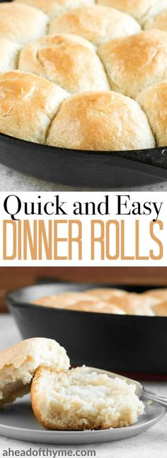 These fluffy, quick and easy dinner rolls will melt in your mouth, making them the only bread recipe you'll need to complement any meal! | aheadofthyme.com via @aheadofthyme