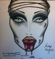 Sharon Needles zombie face chart