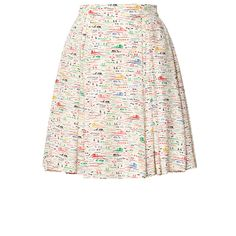 Orla Kiely: Silk skirt in Riviera print. The silk crepe de chine fabric skirt has deep pleats all the way around giving a lovely full skirt yet flattering silhouette. Zip in back to fasten.    Length: 53cm