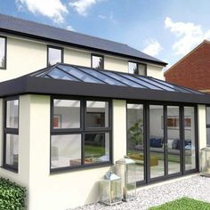 Black and Cream Orangery - marissa Orangery Extension Kitchen, Orangerie Extension, Kitchen Orangery, Conservatory Extension, Conservatory Design, Kitchen Diner Extension, Bungalow Extensions, Garden Room Extensions, House Extensions