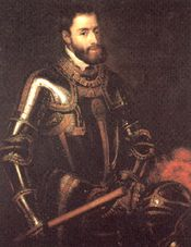 Charles V, Holy Roman Emperor and King of Spain,grandson of Isabella I and Ferdinand V. He inherited the kingdoms of each of his four grandparents, becoming ruler of a vast patchwork of societies, cultures, and languages. Castile + territories + Spain's claim to the new worls; Aragon and two Sicilies + low countries (Belgium and Netherlands) - where he had grown up - Holy Roman Empire.