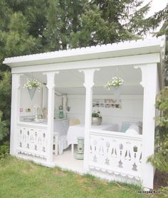 Fun She Shed Conversion Ideas Patio Pergola, Backyard Patio, Gazebo, Outdoor Rooms, Outdoor Living, Shed Conversion Ideas, Backyard Sheds, Garden Structures, Outdoor Structures
