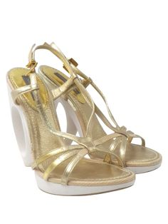 0c9929a56449 Louis Vuitton Gold Leather Tan Snakeskin Sz 6 36 Strappy Slingback Sculpt  Heels