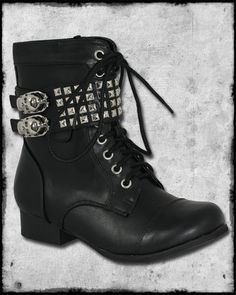 ABBEY DAWN BY AVRIL LAVIGNE WILD CHILD BLACK STUDDED SKULL MILITARY COMBAT BOOTS