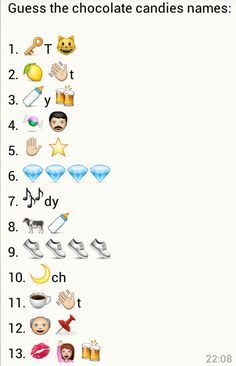 Guess the Chocolate Candies Name - Whatsapp jokes, quiz, puzzles and messages Emoji Food, Emoji Games, Family Fun Games, Youth Group Games, Kitty Party Games, Kitty Games, Dare Games, Games To Play, Emoji Puzzle