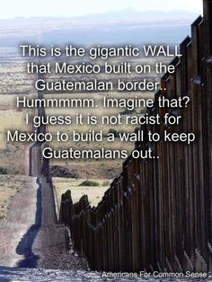 They like their country enough to protect it, why are they trying to turn ours into their third-world country? And why, when Trump says make THEM build it, people scoff? They obviously built this one.