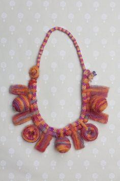 purple brown Long boho necklace black mixed media tribal jewelry OOAK