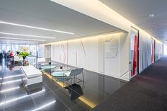 We created a 'typographic journey' through Gensler's multiple disciplines. This begins in the lift lobby and flows into the reception, and then down the meeting room walk ways. Large scale letters make up our disciplines. Due to their size they wrap aro…