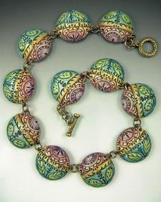 Barb Fajardo polymer clay necklace.  #polymer. #clay