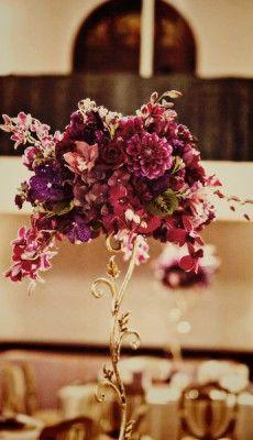 Tall Centerpiece Metallic Vase #wedding #centerpiece