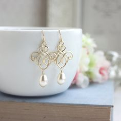 ♥´¨) ¸.•´ ¸.•*´¨) (¸.•´ ♥ ~ Beautiful, and Romantic matte gold plated victorian inspired filigrees. They are lightweight, quality pendants. An ivory teardrop pearl sway gently beneath. I can also make them with white pearls. They hang on gold plated over brass french ear wires. Filigree