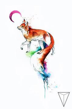 Pin od miss pank na w 2019 rajzolás, hogyan raj Watercolor Projects, Watercolor Paintings, Watercolor Fox Tattoos, Animal Drawings, Cute Drawings, Fuchs Tattoo, Fox Drawing, Wolf Painting, Illustration Vector