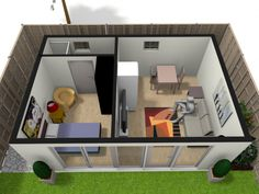 Granny pods with loft Granny Annexe Plan Granny Flat Plans, Garden Log Cabins, Granny Pod, Outdoor Kitchen Bars, One Bed, Flat Ideas, Green Rooms, Annex, Home Decor Kitchen