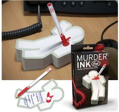 MURDER INK STICKY NOTEPAD & PEN $7.99