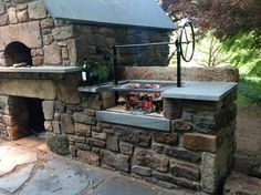 Building an outdoor kitchen with flagstone countertop, storage space for fire woods, a small refrigerator or a grill, is a diy project that can change totally the aspect of your backyard. Description from pinterest.com. I searched for this on bing.com/images