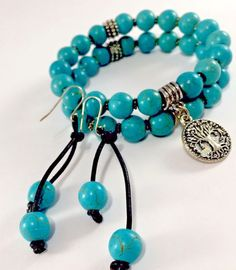 NWT 2 TURQUOISE Beaded Bracelets Silver Tree Of Life &.Matching Earrings SS  | eBay