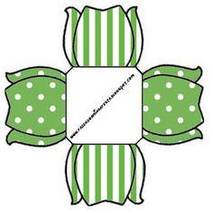 Poá Verde e Listras - Kit Completo com molduras para convites, rótulos para guloseimas, lembrancinhas e imagens!