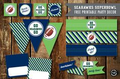 Free Superbowl Party Printables - Broncos and Seahawks Awesome printables for your Superbowl party! There are Broncos ones too but we all know the Seahawks are better! Seahawks Football, Seattle Seahawks, Denver Broncos, Sports Themed Cakes, Seahawks Super Bowl, Football Crafts, Party Printables, Free Printables, Football Birthday