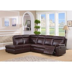 Amax Portland Leather Reclining Sectional