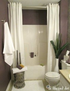 Hang a second shower curtain to make your tub seem extra luxurious.