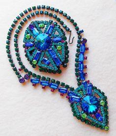 Fabulous D&E JULIANA Blue & Green Rhinestone Vintage Necklace Brooch Set - Demi Parure Watermelon Rivoli