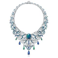 Chow Tai Fook Frank Stella-inspired La Lumiere de L'Infini necklace set with a black opal, diamonds, sapphires and tourmalines