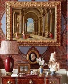 In The Master Bedroom, A Italian Capriccio Painting Is Displayed Above A  Neoclassical Bas Relief Cameo And A Marble Bust.